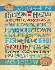 Hilton Head Island Map style Poster decor print vintage  style sign SC beach