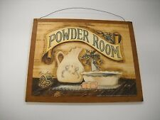 Powder Room Wooden country Bathroom Wall Art Sign Bath Decor decorations plaques