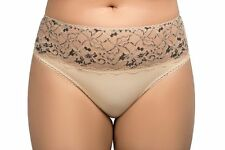 Ladies Size 22-24 Designer Bikini Knickers Panties Luxury Briefs Natural