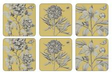 Sanderson Pimpernel Etchings & Roses Yellow Coasters Drink Mats Set of 6 New Box