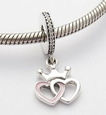 TOGETHER HEARTS w CROWN CHARM Bead Sterling Silver.925 for European Bracelet 565