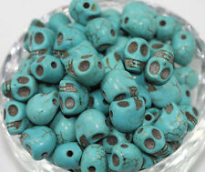 Wholesale 20/50/100PCS Turquoise Carved Skull Head Howlite Spacer Loose Beads