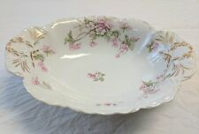 """Antique Haviland Limoges  ROSE Oval 10"""" serving Bowl Pink Roses Porcelain NR!"""