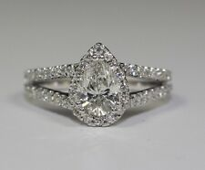 14k White Gold Pear Shaped Diamond And White Round Diamond Halo Ring Size 5.75