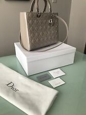 Christian Dior Lady Dior Light Grey Patent Leather Large Bag
