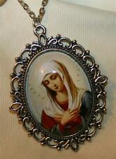 Lovely Lacy Picot Rim Mater Dolorosa With Greek Text Silvertone Medal Necklace