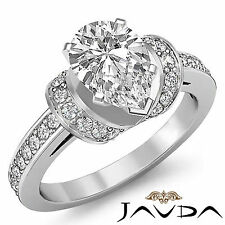 Antique Style Pear Shape Diamond Pave Engagement Ring GIA F SI1 Platinum 1.5 ct