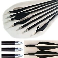 "12 Black Fibreglass 28"" inch Archery Arrows CARBON GRADE Target & Field"