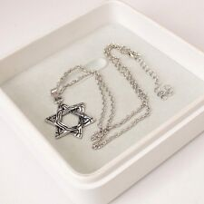 Unisexs Men Silver Stainless Steel Lucky six-pointed Star Pendant Necklace Chain
