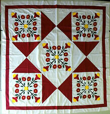 Hand Applique English Rose  / Ohio Star  QUILT TOP - Red & White