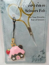 Victorian Scissors FOB Enameled House Charm - Brown with Pink Roof