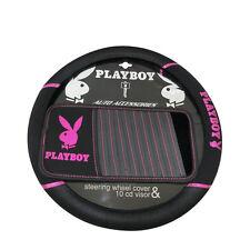 Playboy Steering Wheel Cover Seat Belt Pad Set Black/Pink
