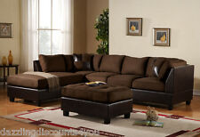3PC Sectional Sofa Microsuede Faux Leather Brown with Ottoman Accent Pillows