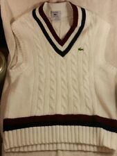 Vintage Lacoste Men's White Ribbed Knit Sweater Vest Size XL