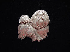 """JJ"" Jonette Jewelry Silver Pewter 'No Bad Hair Day Shih Tzu' Dog Pin"