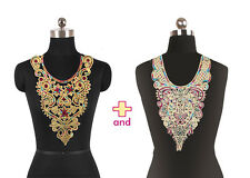 2pc Gold Metallic Neckline Collar Sequin Embroidered Lace Patch Applique t524A