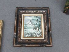 "Vintage Oil on Board Painting Signed Framed 8"" x 10"" - 15"" x 17"" Snow Mountain"