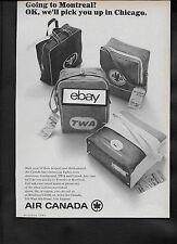 AIR CANADA 1965 GOING TO MONTREAL? PICK YOU UP IN CHICAGO O'HARE FLIGHT BAGS AD