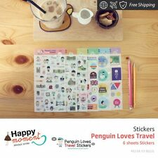 Penguin Loves Travel Stickers Marker Memo Flag Sticky Note Index Tab 6 sheets