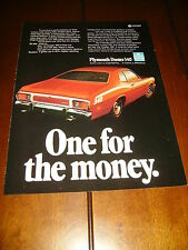 1973 PLYMOUTH DUSTER --ONE FOR THE MONEY-- ORIGINAL AD