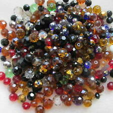 300pcs Rondelle Glass Beads Assorted Colour 4mm x 14mm For Any Crafts Making