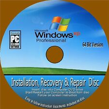Windows XP Professional 64 Bit Inc sp3 Installazione Recupero di riparazione CD ROM NUOVO