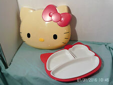 Rare Sanrio HELLO KITTY Face-Shaped Melamine Plate, Complete w 3 inserts 2001