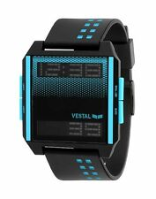 NEW VESTAL DIGICHORD BLACK BLUE NEGATIVE SURF GOLF SCUBA SPORTS WATCH