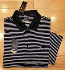 NWT GREG NORMAN Tasso Elba Performance Mens Golf Shirt-L @$49 BLACK/WHITE Stripe