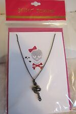 Betsey Johnson Gunmetal Hematite Serpent Snake Pendant Chain Necklace NWT