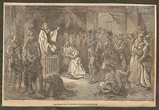 VINTAGE ILLUSTRATION -  BAPTISM OF VIRGINIA DARE - MARRIAGE OF POCAHONTAS