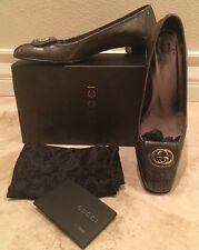 GUCCI Dk Gray Glitter Patent Leather Low Heel Pump Silver GG 39 9M Italy Worn 2x