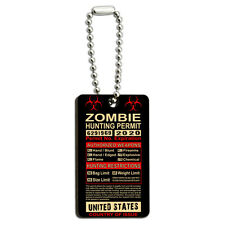 United States Zombie Hunting License Permit Wood Wooden Rectangle Key Chain