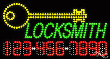 """NEW """"LOCKSMITH"""" 32x17 w/YOUR PHONE NUMBER SOLID/FLASH LED SIGN w/OPTIONS 25078"""