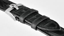 New Black Croc Grain Genuine Leather OMEGA Strap Stainless Steel Buckle 18mm
