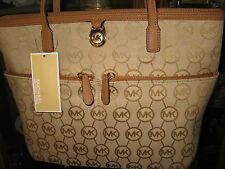 MICHAEL KORS BEIGE CAMEL JACQUARD KEMPTON MEDIUM POCKET TOTE SATCHEL PURSE NEW