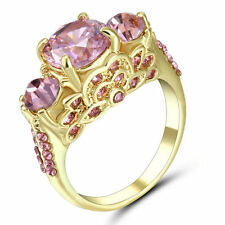 Size 8 Pink Sapphire Crystal Engagement Ring 10KT Yellow Gold Fillled Jewelr