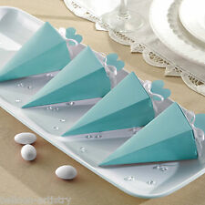 50 Elegant EGG BLUE Wedding Engagement Party Gift Favour Pyramid Cone Boxes