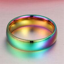 Size7 Unisex Rainbow Titanium Steel Rings Promise Ring Engagement Wedding Band