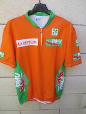 VINTAGE Maillot cycliste orange PMU leader ROUTE DU SUD shirt jersey rare 80's 4
