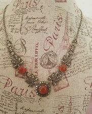 VINTAGE ART DECO STYLE STERLING SILVER MARCASITE CARNELIAN NECKLACE