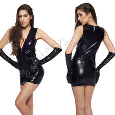 Women Sexy Faux Leather Zipper Gothic Cat suit Cosplay Mini Fancy Dress Costume