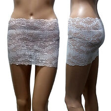 NEW Sexy Womens Floral Lace Tight Slim Fit Mirco Mini Underwear Skirt White 4XL