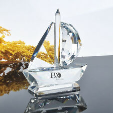 3D Crystal Clear Sailing Boat Figurine Paperweight Ornaments Gift Decoration HOT