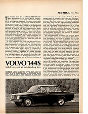 1967 VOLVO 144S  ~  NICE ORIGINAL 4-PAGE ROAD TEST / ARTICLE / AD