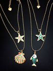 N807 Betsey Johnson Ocean Fish Starfish Sea Star Reef Turtle Summer Necklace US