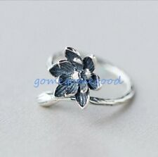 925 Sterling Silver - Size 6 Korea Vogue Retro Lotus Flower Lady Party Open Ring