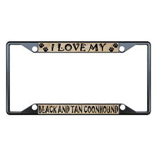 Black And Tan Coonhound Dog License Plate Frame Tag Holder Four Holes