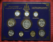 King Bhumibol Adulyadej 50th Year Reign 1996 Thailand 10 Coin Set Baht + Satang