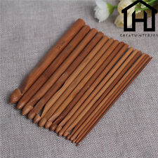 "16 Sizes 6"" Bamboo Handle Crochet Hook Knit Yarn Craft Knitting Needle 2.0-12mm"